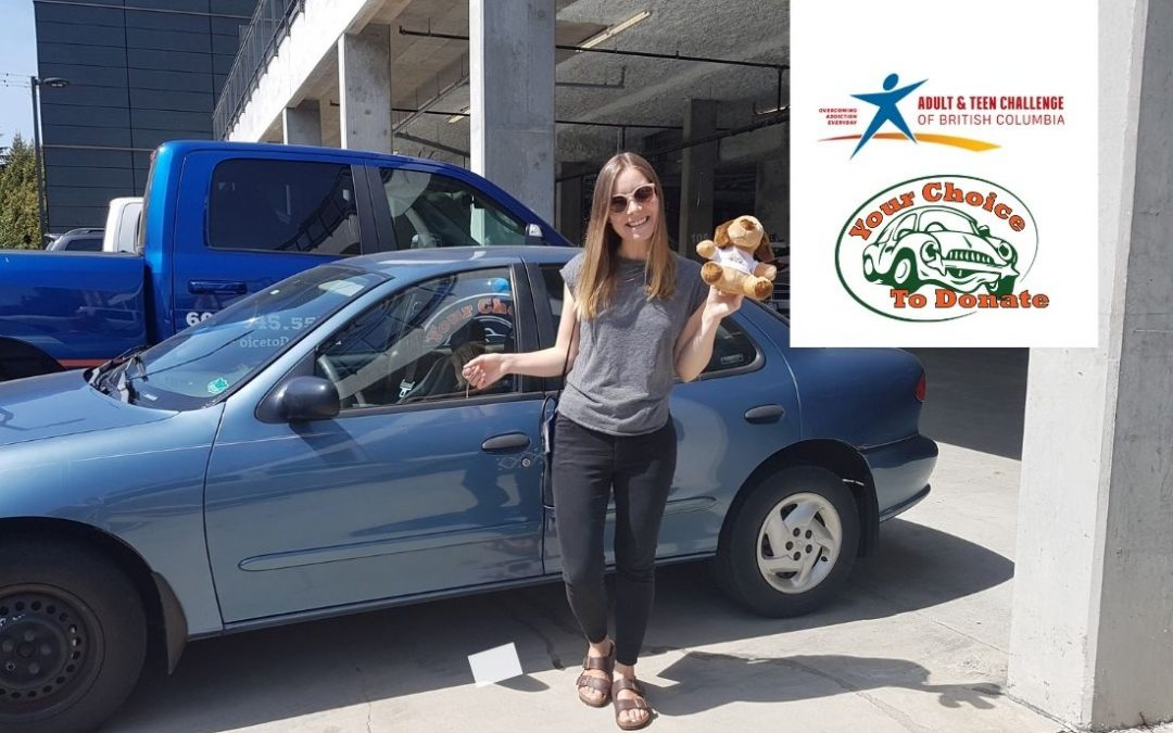 Erin from Abbotsford donating her vehicle to Teen Challenge and her new friend Scrappy our mascot